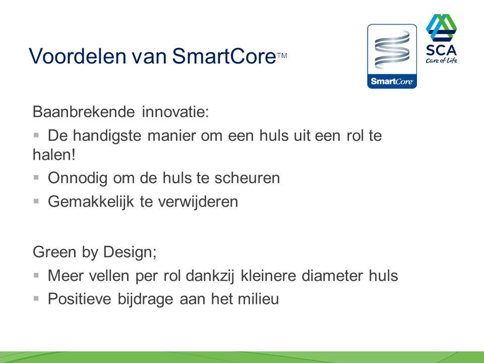 Voordelen van SmartCore TM Baanbrekende innovatie:  De handigste manier om een huls uit een rol te halen.