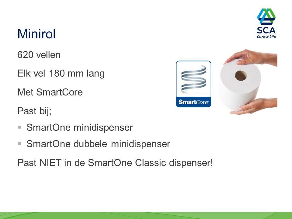 Minirol 620 vellen Elk vel 180 mm lang Met SmartCore Past bij;  SmartOne minidispenser  SmartOne dubbele minidispenser Past NIET in de SmartOne Classic dispenser!