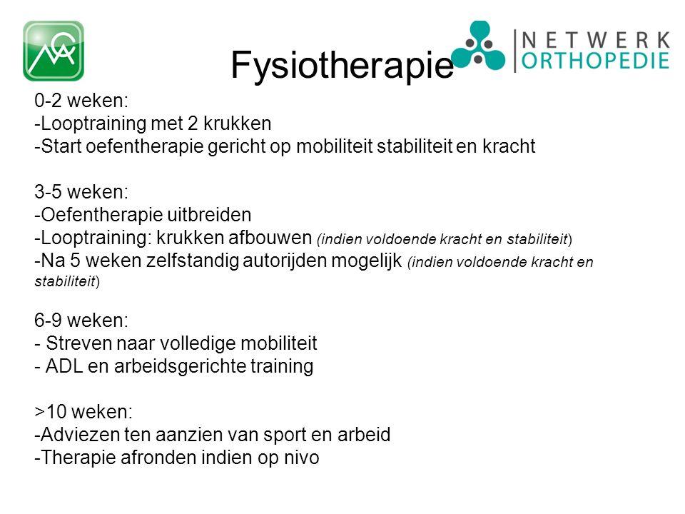 0-2 weken: -Looptraining met 2 krukken -Start oefentherapie gericht op mobiliteit stabiliteit en kracht 3-5 weken: -Oefentherapie uitbreiden -Looptrai