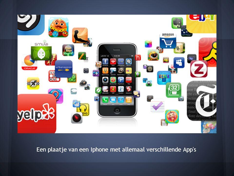 Een plaatje van een Iphone met allemaal verschillende App s
