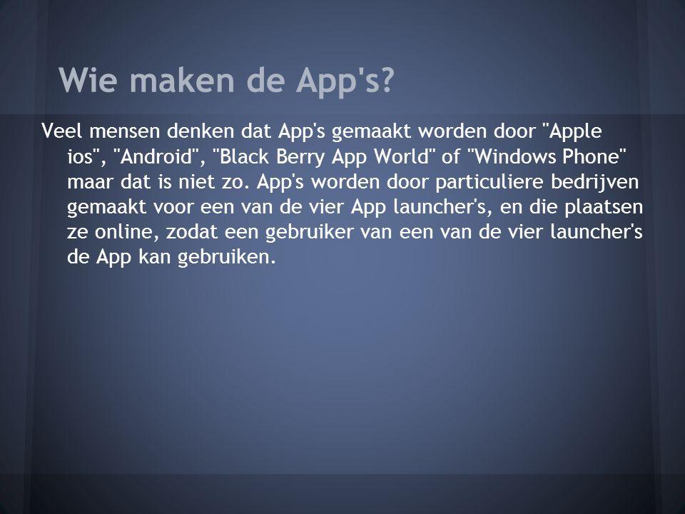 Veel mensen denken dat App s gemaakt worden door Apple ios , Android , Black Berry App World of Windows Phone maar dat is niet zo.
