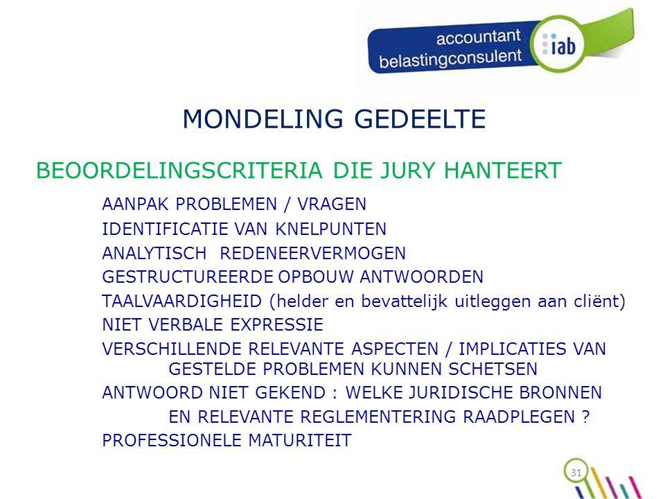 31 MONDELING GEDEELTE BEOORDELINGSCRITERIA DIE JURY HANTEERT AANPAK PROBLEMEN / VRAGEN IDENTIFICATIE VAN KNELPUNTEN ANALYTISCH REDENEERVERMOGEN GESTRUCTUREERDE OPBOUW ANTWOORDEN TAALVAARDIGHEID (helder en bevattelijk uitleggen aan cliënt) NIET VERBALE EXPRESSIE VERSCHILLENDE RELEVANTE ASPECTEN / IMPLICATIES VAN GESTELDE PROBLEMEN KUNNEN SCHETSEN ANTWOORD NIET GEKEND : WELKE JURIDISCHE BRONNEN EN RELEVANTE REGLEMENTERING RAADPLEGEN .