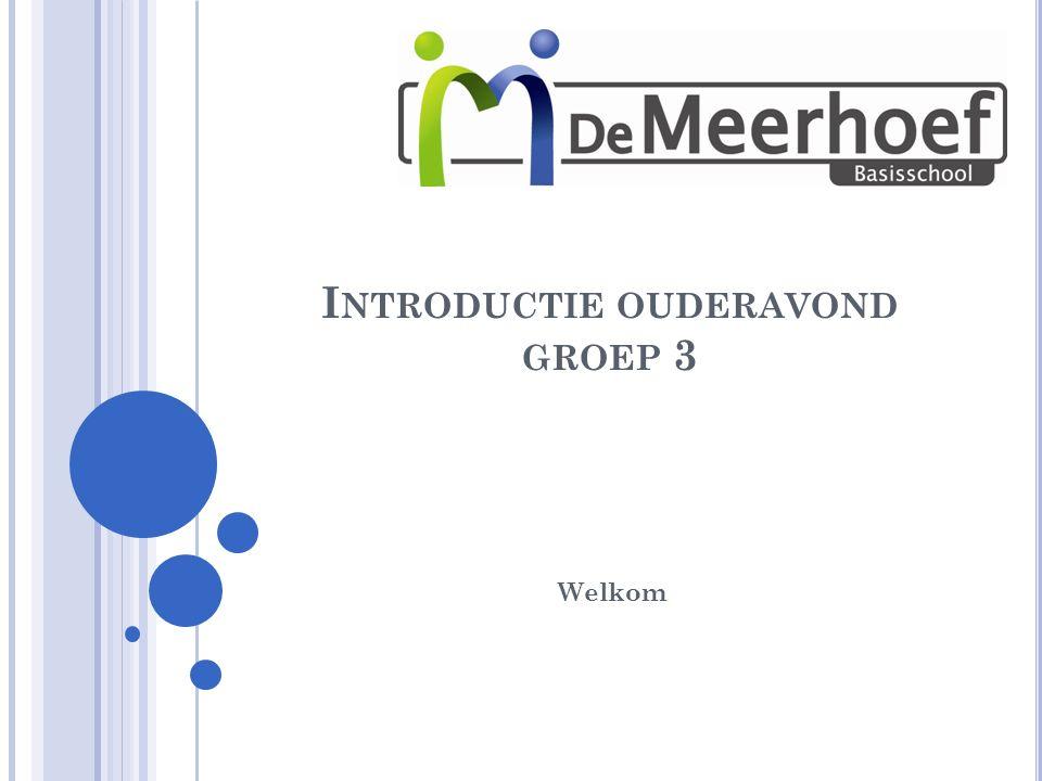 I NTRODUCTIE OUDERAVOND GROEP 3 Welkom