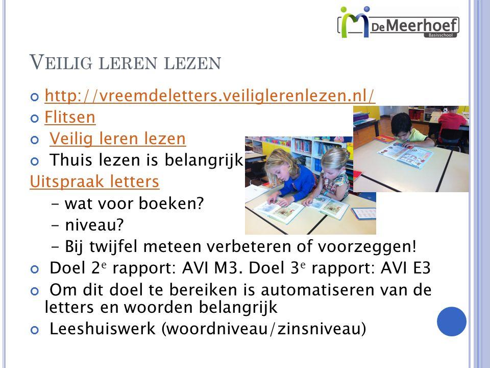 http://vreemdeletters.veiliglerenlezen.nl/ Flitsen Veilig leren lezen Thuis lezen is belangrijk Uitspraak letters - wat voor boeken.