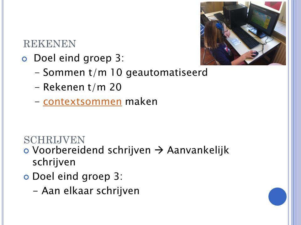 SCHRIJVEN Doel eind groep 3: - Sommen t/m 10 geautomatiseerd - Rekenen t/m 20 - contextsommen makencontextsommen REKENEN Voorbereidend schrijven  Aanvankelijk schrijven Doel eind groep 3: - Aan elkaar schrijven