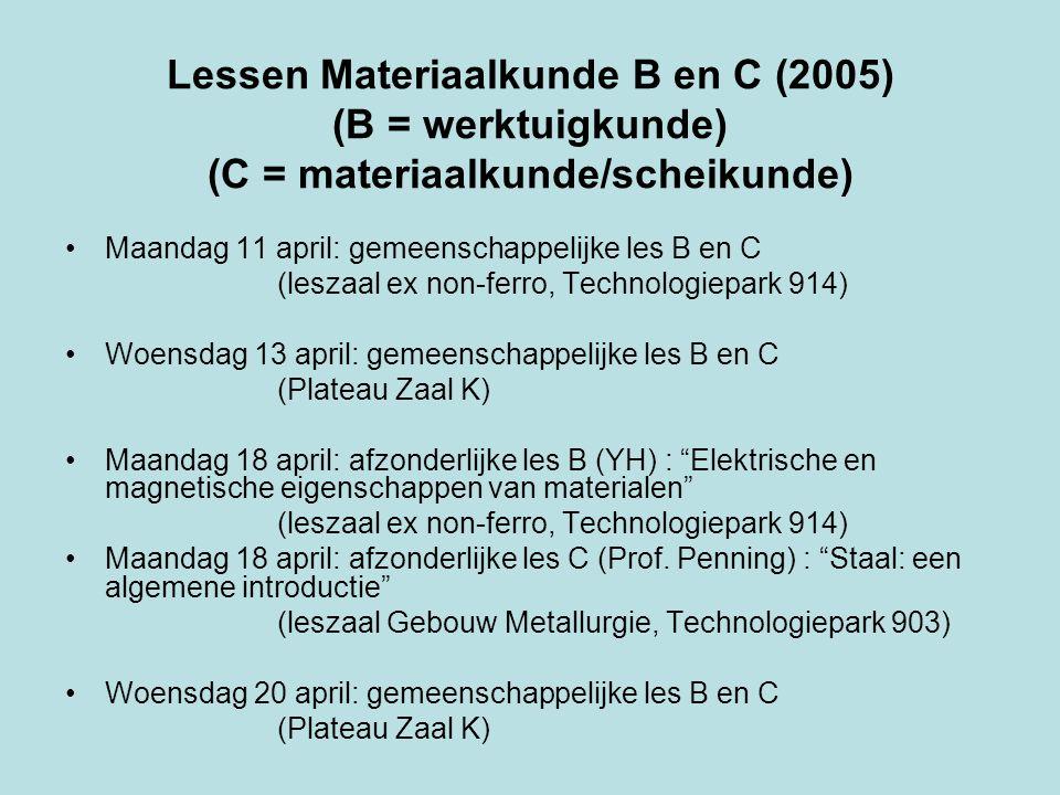 Lessen Materiaalkunde B en C (2005) (B = werktuigkunde) (C = materiaalkunde/scheikunde) Maandag 11 april: gemeenschappelijke les B en C (leszaal ex non-ferro, Technologiepark 914) Woensdag 13 april: gemeenschappelijke les B en C (Plateau Zaal K) Maandag 18 april: afzonderlijke les B (YH) : Elektrische en magnetische eigenschappen van materialen (leszaal ex non-ferro, Technologiepark 914) Maandag 18 april: afzonderlijke les C (Prof.