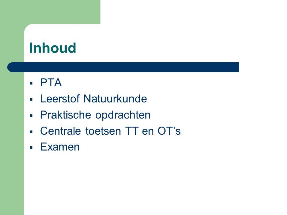 Inhoud  PTA  Leerstof Natuurkunde  Praktische opdrachten  Centrale toetsen TT en OT's  Examen