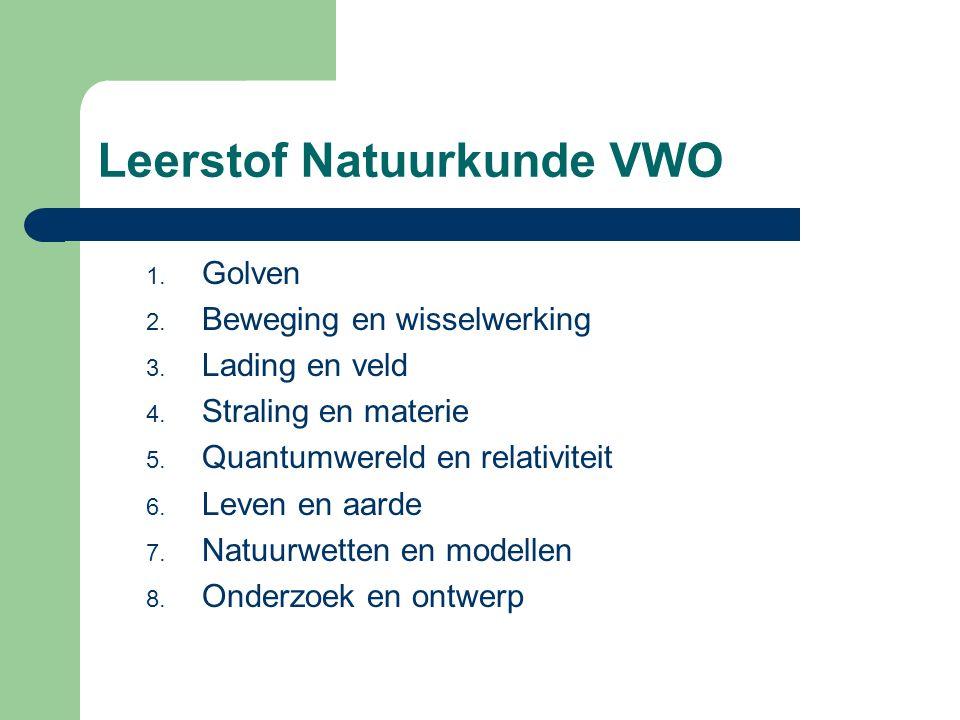 Leerstof Natuurkunde VWO 1. Golven 2. Beweging en wisselwerking 3. Lading en veld 4. Straling en materie 5. Quantumwereld en relativiteit 6. Leven en