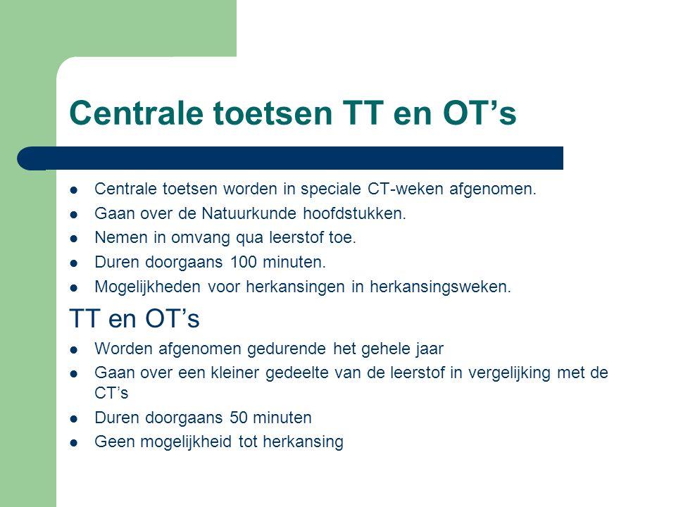 Centrale toetsen TT en OT's Centrale toetsen worden in speciale CT-weken afgenomen. Gaan over de Natuurkunde hoofdstukken. Nemen in omvang qua leersto