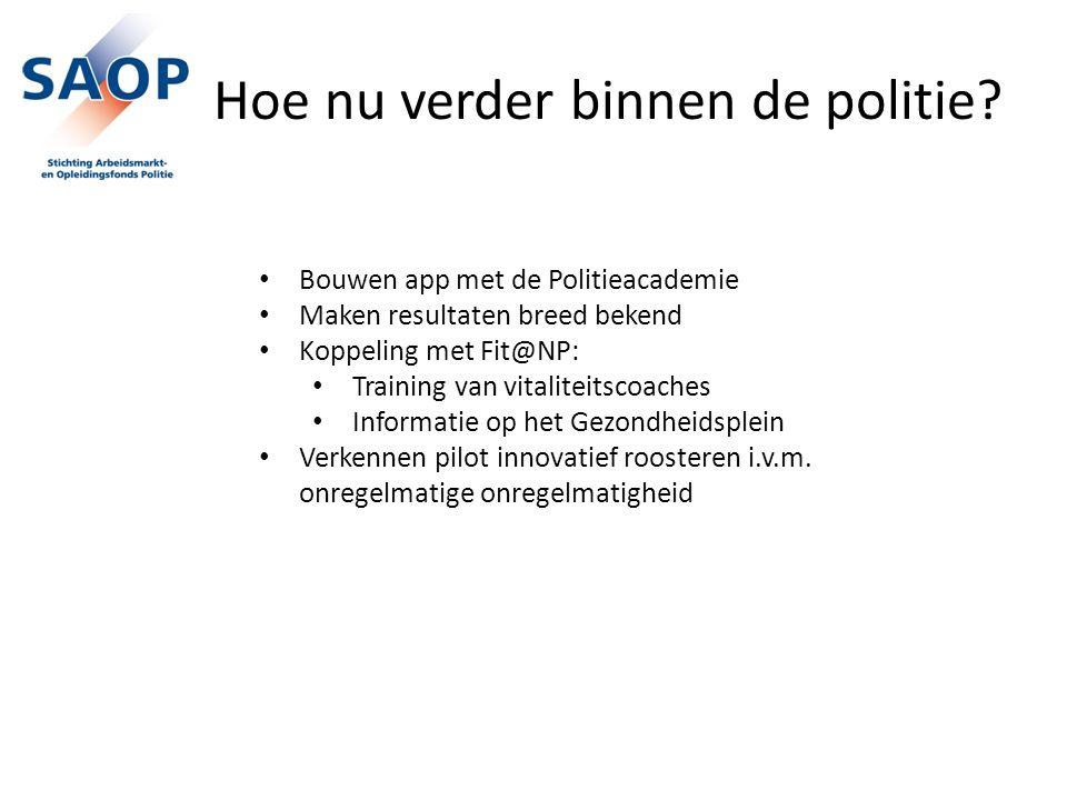 Hoe nu verder binnen de politie? Bouwen app met de Politieacademie Maken resultaten breed bekend Koppeling met Fit@NP: Training van vitaliteitscoaches