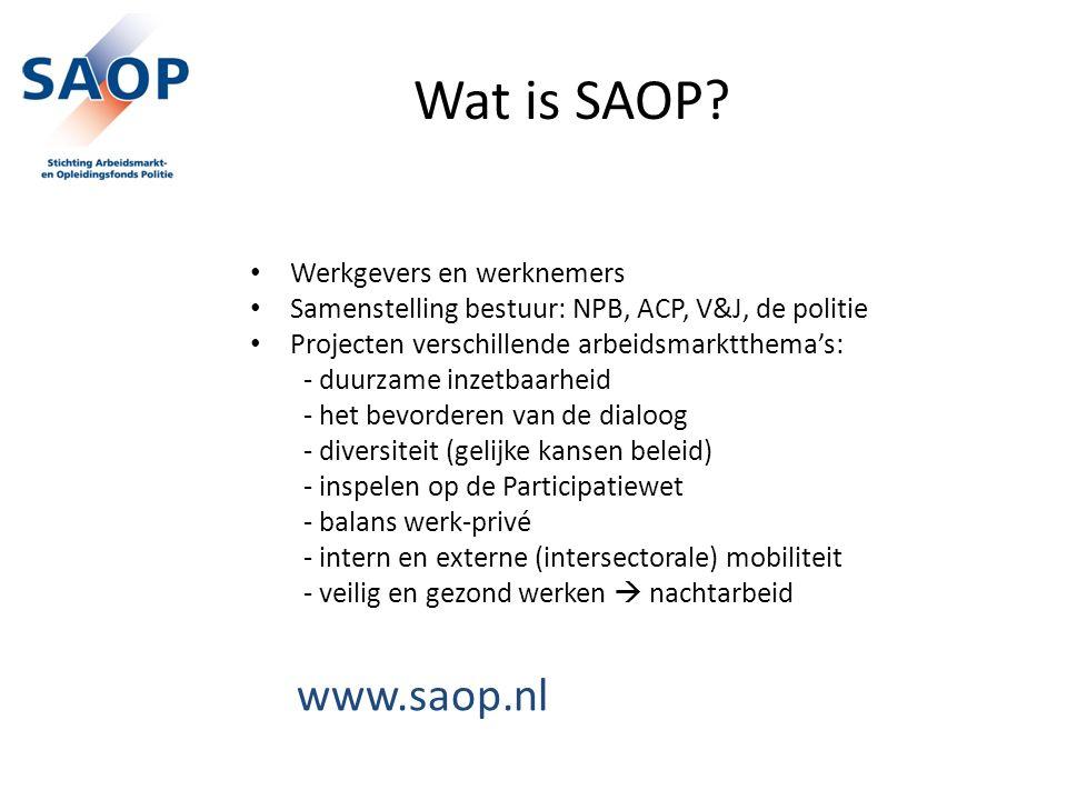 Wat is SAOP? Werkgevers en werknemers Samenstelling bestuur: NPB, ACP, V&J, de politie Projecten verschillende arbeidsmarktthema's: - duurzame inzetba