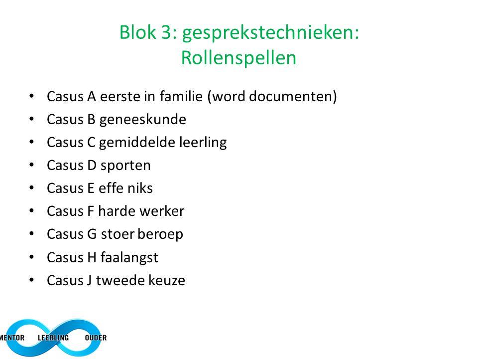 Blok 3: gesprekstechnieken: Rollenspellen Casus A eerste in familie (word documenten) Casus B geneeskunde Casus C gemiddelde leerling Casus D sporten