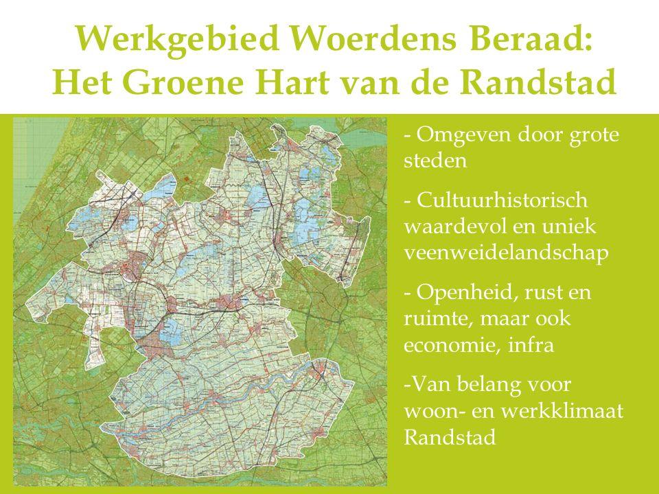 Werkgebied Woerdens Beraad: Het Groene Hart van de Randstad - Omgeven door grote steden - Cultuurhistorisch waardevol en uniek veenweidelandschap - Op