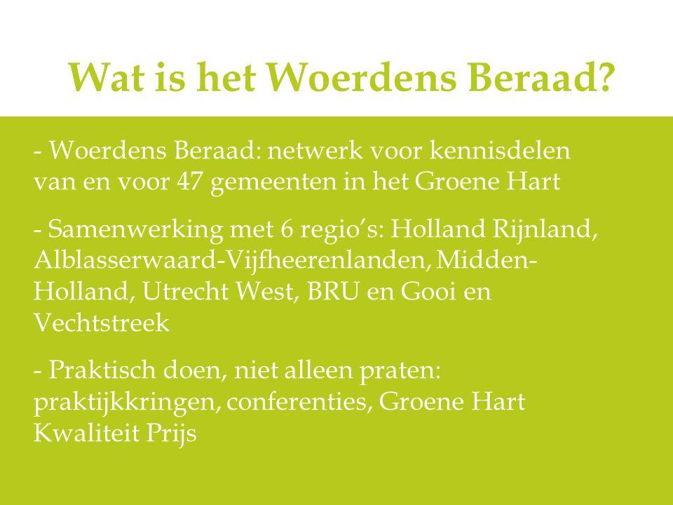 Wat is het Woerdens Beraad? - Woerdens Beraad: netwerk voor kennisdelen van en voor 47 gemeenten in het Groene Hart - Samenwerking met 6 regio's: Holl