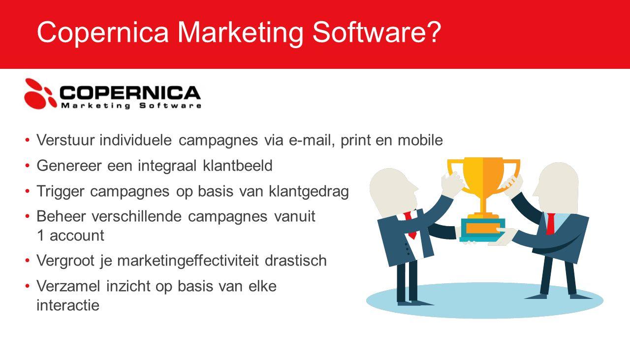 Eenvoudig te implementeren Copernica levert sales en marketing ondersteuning Training is inbegrepen Support is inbegrepen SOAP en REST API voor integraties Tientallen integraties beschikbaar