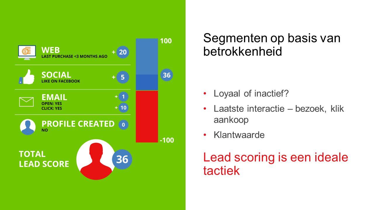RELEVANTE CAMPAGNES HEBBEN… 50% hogere KLIKRATIO 30% hogere OPENRATIO & Vertaal data naar Persoonlijke content Aanbiedingen Incentives Calls-to-action Afbeeldingen Links Aanbevelingen Landingspagina's