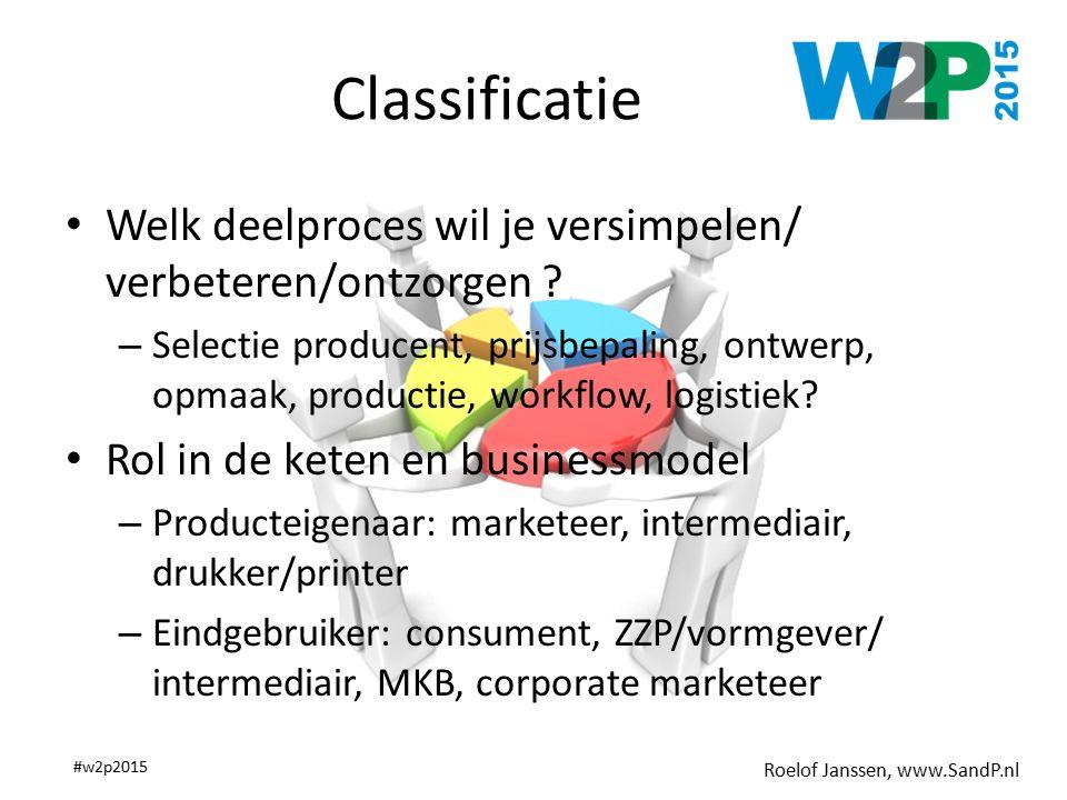 Roelof Janssen, www.SandP.nl #w2p2015 Classificatie Welk deelproces wil je versimpelen/ verbeteren/ontzorgen ? – Selectie producent, prijsbepaling, on