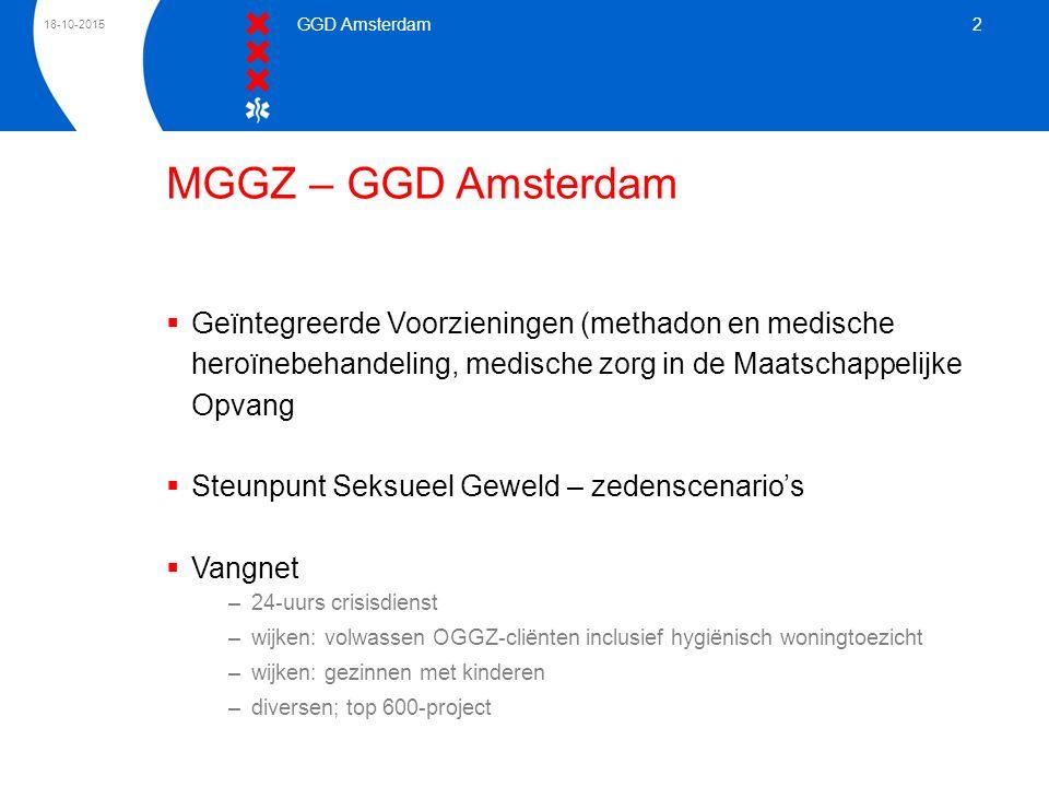 18-10-2015 GGD Amsterdam 2 MGGZ – GGD Amsterdam  Geïntegreerde Voorzieningen (methadon en medische heroïnebehandeling, medische zorg in de Maatschapp