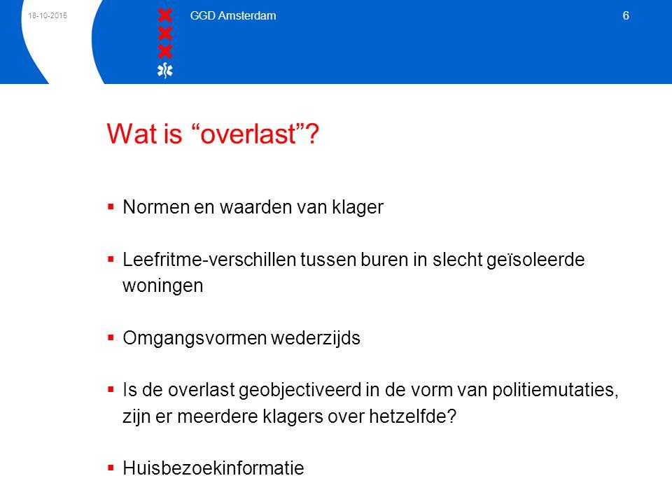 """18-10-2015 GGD Amsterdam 6 Wat is """"overlast""""?  Normen en waarden van klager  Leefritme-verschillen tussen buren in slecht geïsoleerde woningen  Omg"""