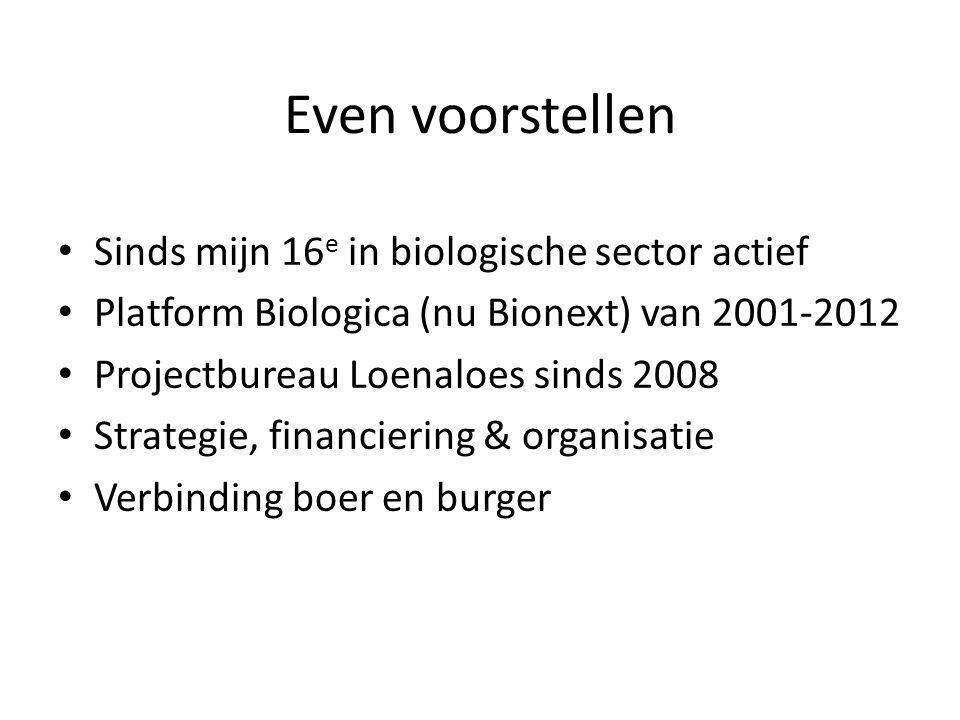 Even voorstellen Sinds mijn 16 e in biologische sector actief Platform Biologica (nu Bionext) van 2001-2012 Projectbureau Loenaloes sinds 2008 Strateg