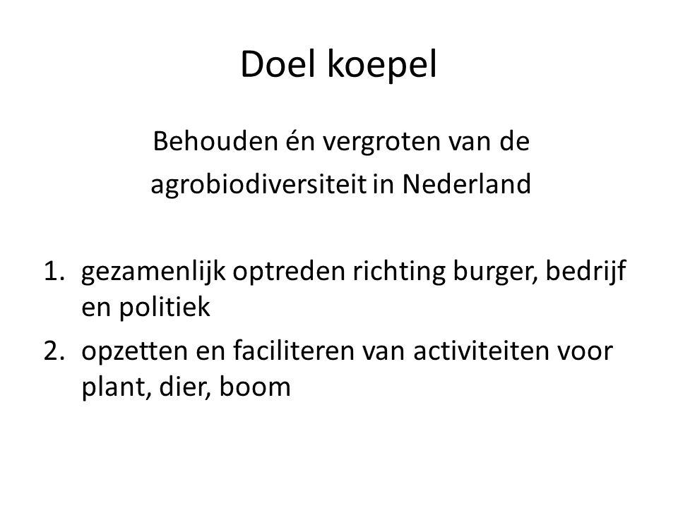 Doel koepel Behouden én vergroten van de agrobiodiversiteit in Nederland 1.gezamenlijk optreden richting burger, bedrijf en politiek 2.opzetten en fac