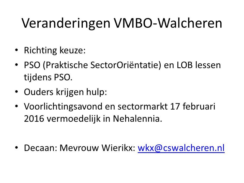 Veranderingen VMBO-Walcheren Richting keuze: PSO (Praktische SectorOriëntatie) en LOB lessen tijdens PSO. Ouders krijgen hulp: Voorlichtingsavond en s
