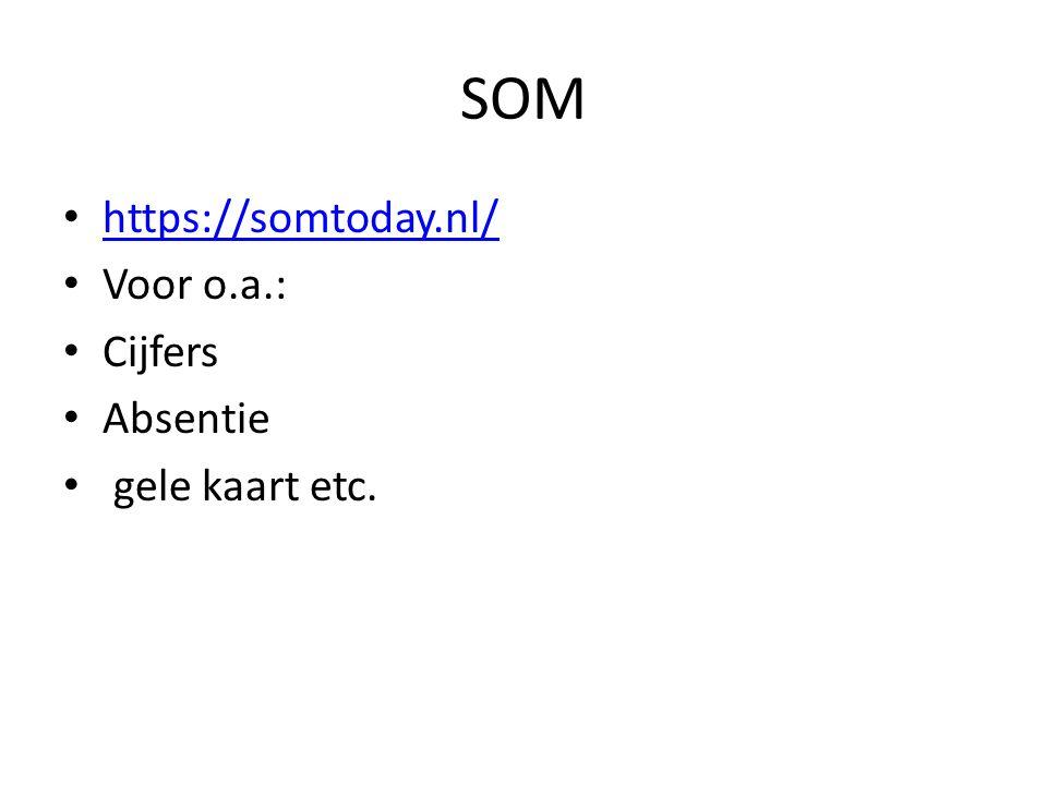 SOM https://somtoday.nl/ Voor o.a.: Cijfers Absentie gele kaart etc.