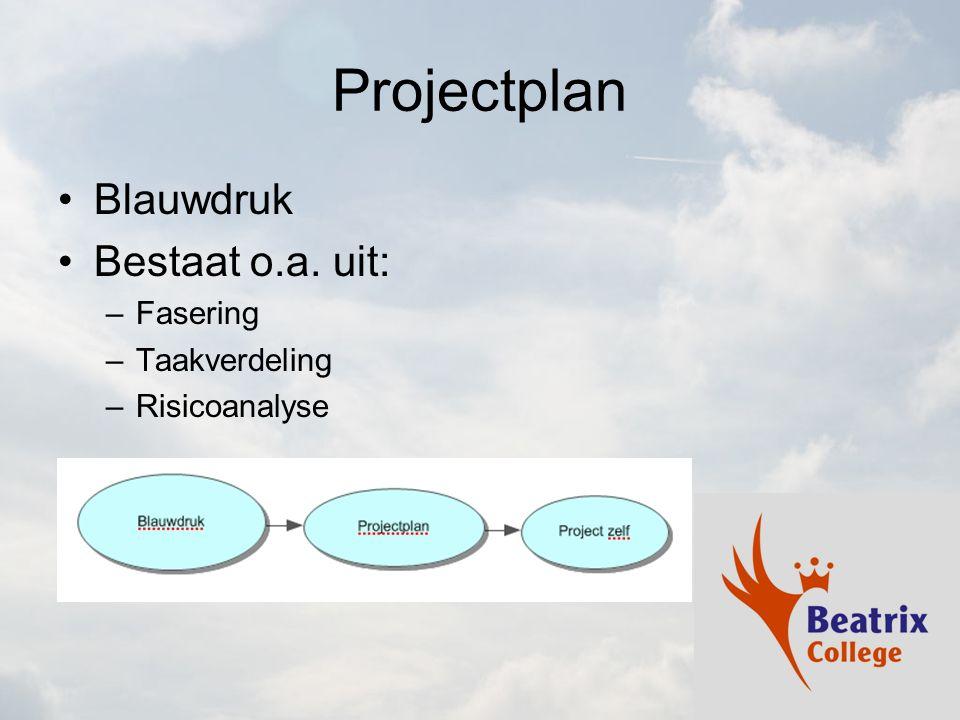 Projectplan Blauwdruk Bestaat o.a. uit: –Fasering –Taakverdeling –Risicoanalyse