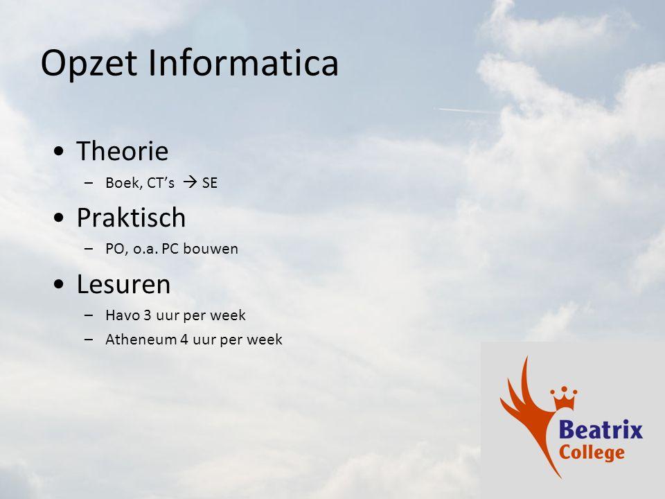 Opzet Informatica Theorie –Boek, CT's  SE Praktisch –PO, o.a.