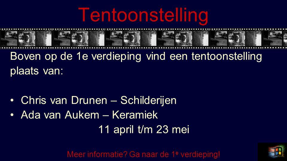 Tentoonstelling Boven op de 1e verdieping vind een tentoonstelling plaats van: Chris van Drunen – Schilderijen Ada van Aukem – Keramiek 11 april t/m 23 mei Meer informatie.