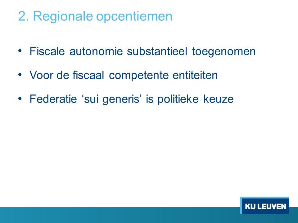 Fiscale autonomie substantieel toegenomen Voor de fiscaal competente entiteiten Federatie 'sui generis' is politieke keuze 2.