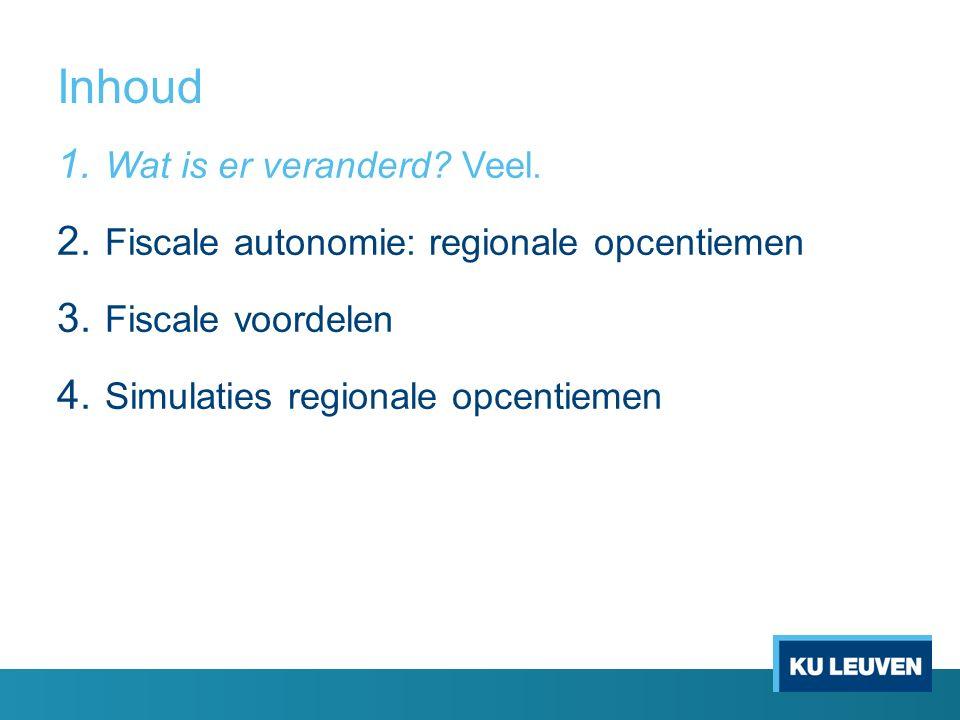 Inhoud 1. Wat is er veranderd. Veel. 2. Fiscale autonomie: regionale opcentiemen 3.