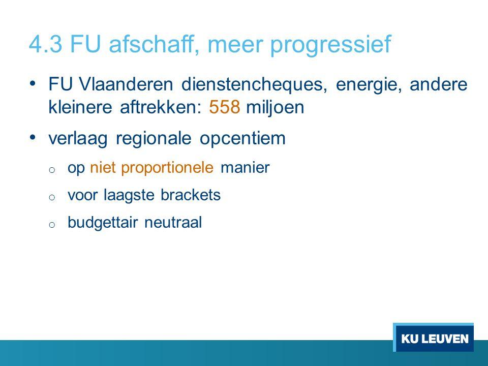 4.3 FU afschaff, meer progressief FU Vlaanderen dienstencheques, energie, andere kleinere aftrekken: 558 miljoen verlaag regionale opcentiem o op niet proportionele manier o voor laagste brackets o budgettair neutraal