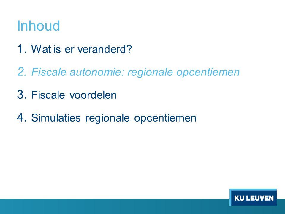 Inhoud 1. Wat is er veranderd. 2. Fiscale autonomie: regionale opcentiemen 3.