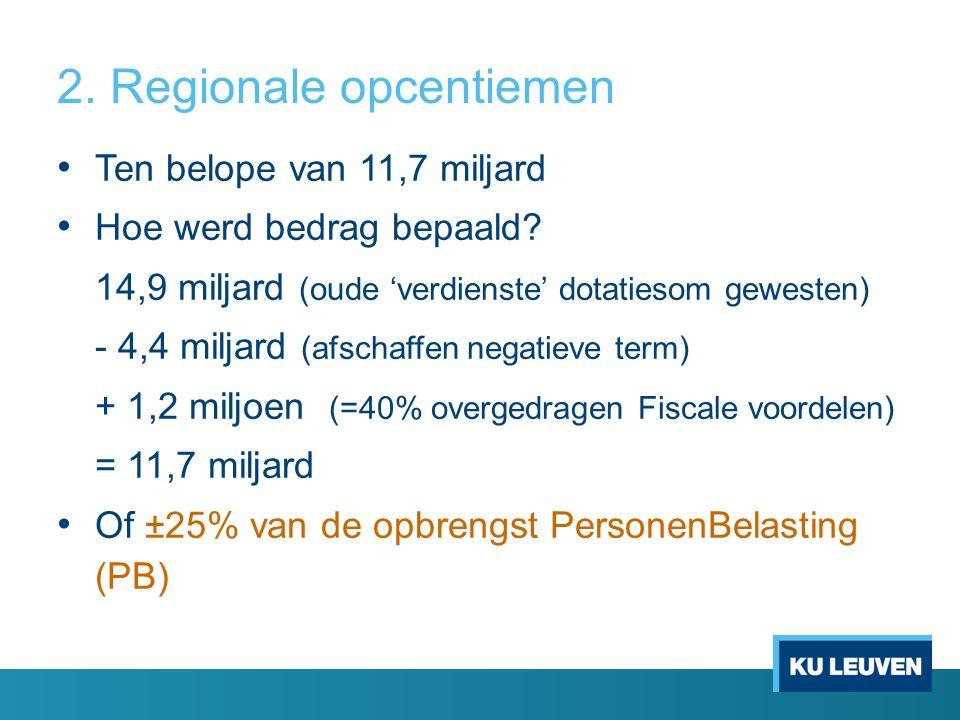 2. Regionale opcentiemen Ten belope van 11,7 miljard Hoe werd bedrag bepaald.