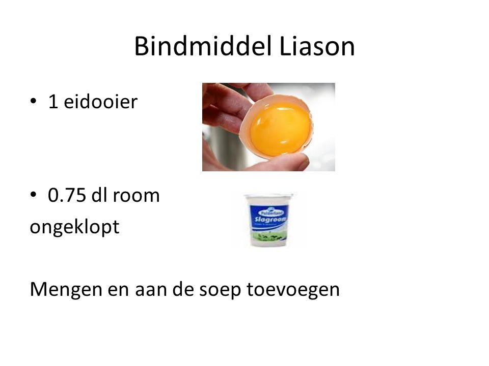 Bindmiddel Liason 1 eidooier 0.75 dl room ongeklopt Mengen en aan de soep toevoegen