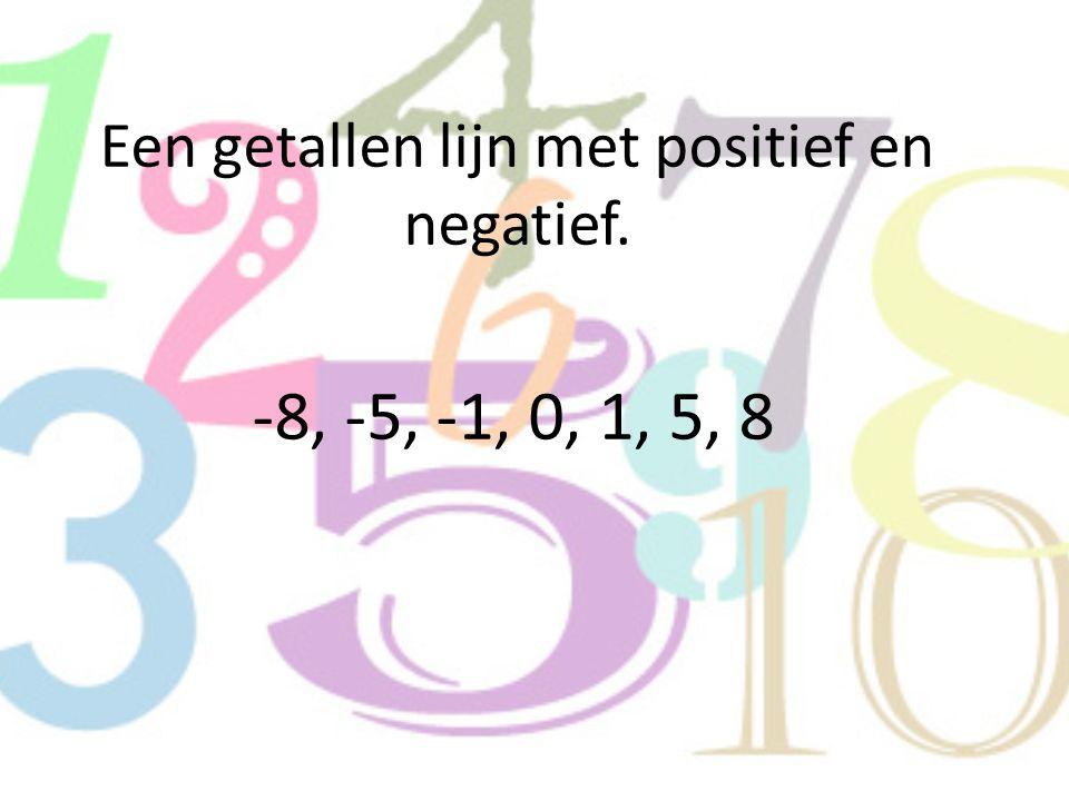 Een getallen lijn met positief en negatief. -8, -5, -1, 0, 1, 5, 8