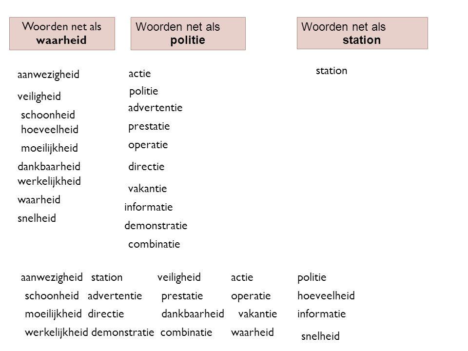Woorden net als waarheid Woorden net als politie Woorden net als station aanwezigheidstation snelheid actie vakantie actie aanwezigheid politie schoon