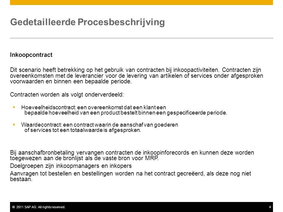 ©2011 SAP AG. All rights reserved.4 Gedetailleerde Procesbeschrijving Inkoopcontract Dit scenario heeft betrekking op het gebruik van contracten bij i