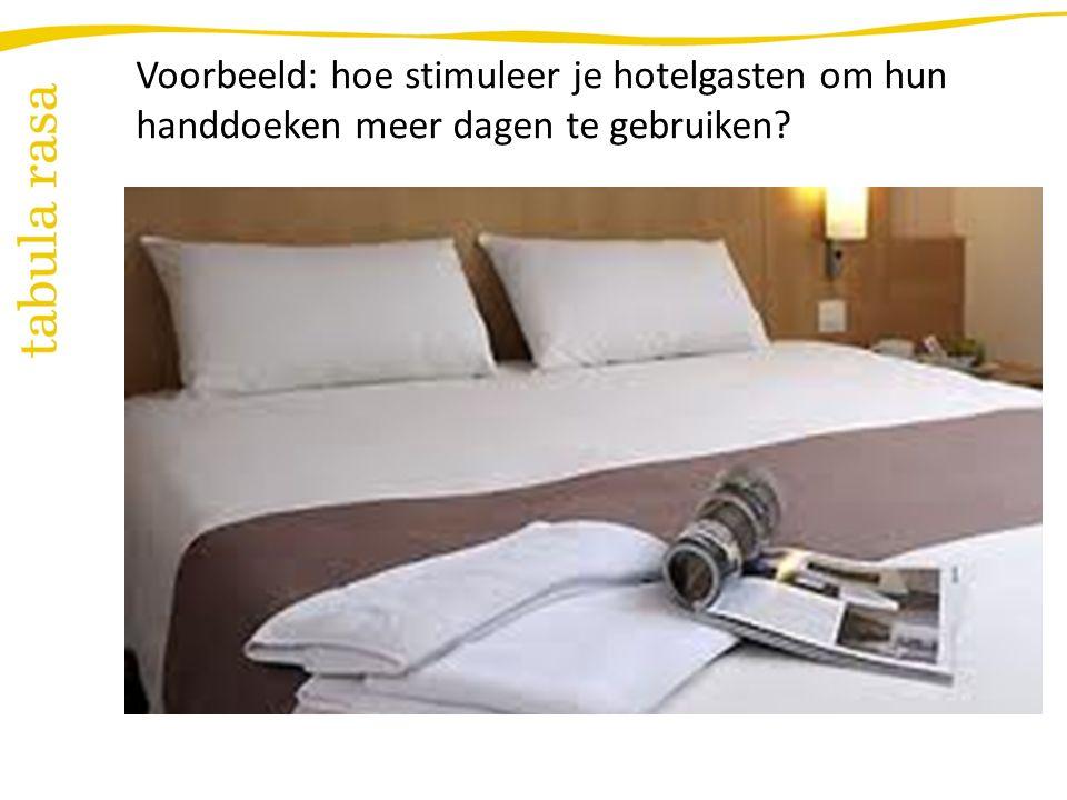 Voorbeeld: hoe stimuleer je hotelgasten om hun handdoeken meer dagen te gebruiken?