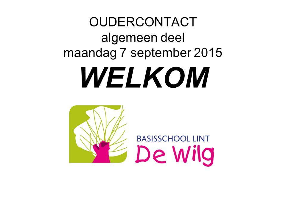 OUDERCONTACT algemeen deel maandag 7 september 2015 WELKOM