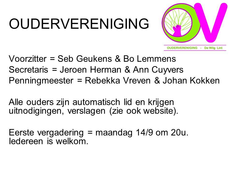 OUDERVERENIGING Voorzitter = Seb Geukens & Bo Lemmens Secretaris = Jeroen Herman & Ann Cuyvers Penningmeester = Rebekka Vreven & Johan Kokken Alle ouders zijn automatisch lid en krijgen uitnodigingen, verslagen (zie ook website).