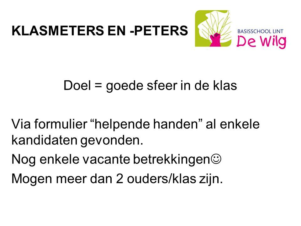 KLASMETERS EN -PETERS Doel = goede sfeer in de klas Via formulier helpende handen al enkele kandidaten gevonden.