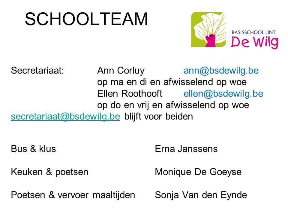 SCHOOLTEAM Secretariaat:Ann Corluyann@bsdewilg.be op ma en di en afwisselend op woe Ellen Roothooft ellen@bsdewilg.be op do en vrij en afwisselend op woe secretariaat@bsdewilg.besecretariaat@bsdewilg.be blijft voor beiden Bus & klusErna Janssens Keuken & poetsenMonique De Goeyse Poetsen & vervoer maaltijdenSonja Van den Eynde