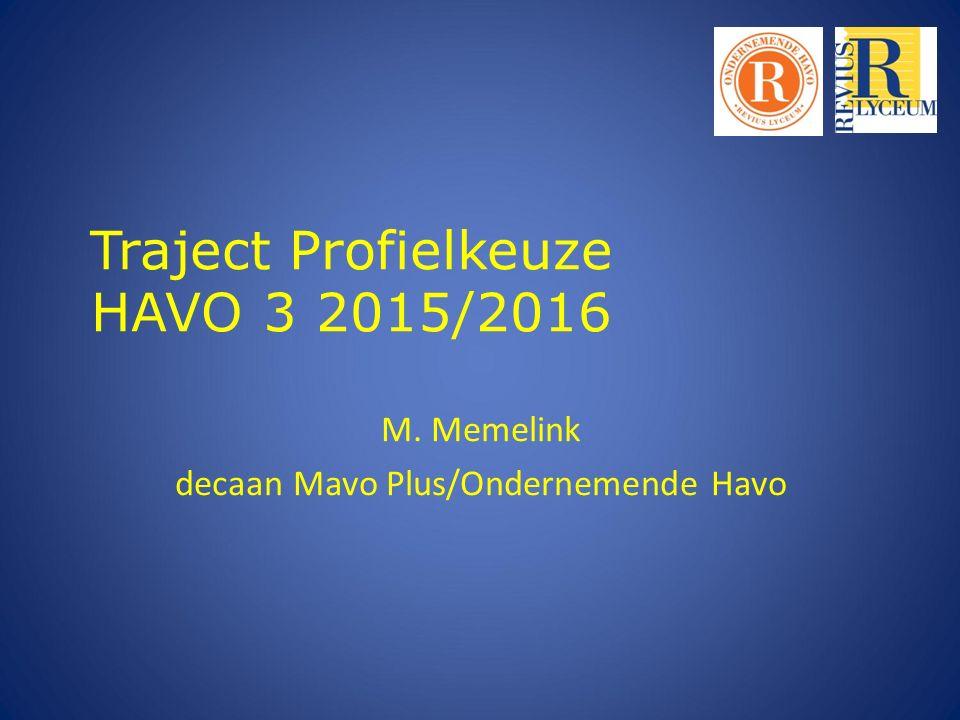 Traject Profielkeuze HAVO 3 2015/2016 M. Memelink decaan Mavo Plus/Ondernemende Havo
