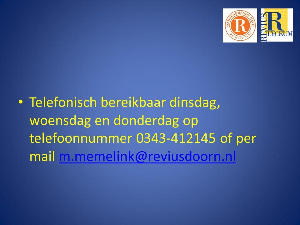 Telefonisch bereikbaar dinsdag, woensdag en donderdag op telefoonnummer 0343-412145 of per mail m.memelink@reviusdoorn.nlm.memelink@reviusdoorn.nl