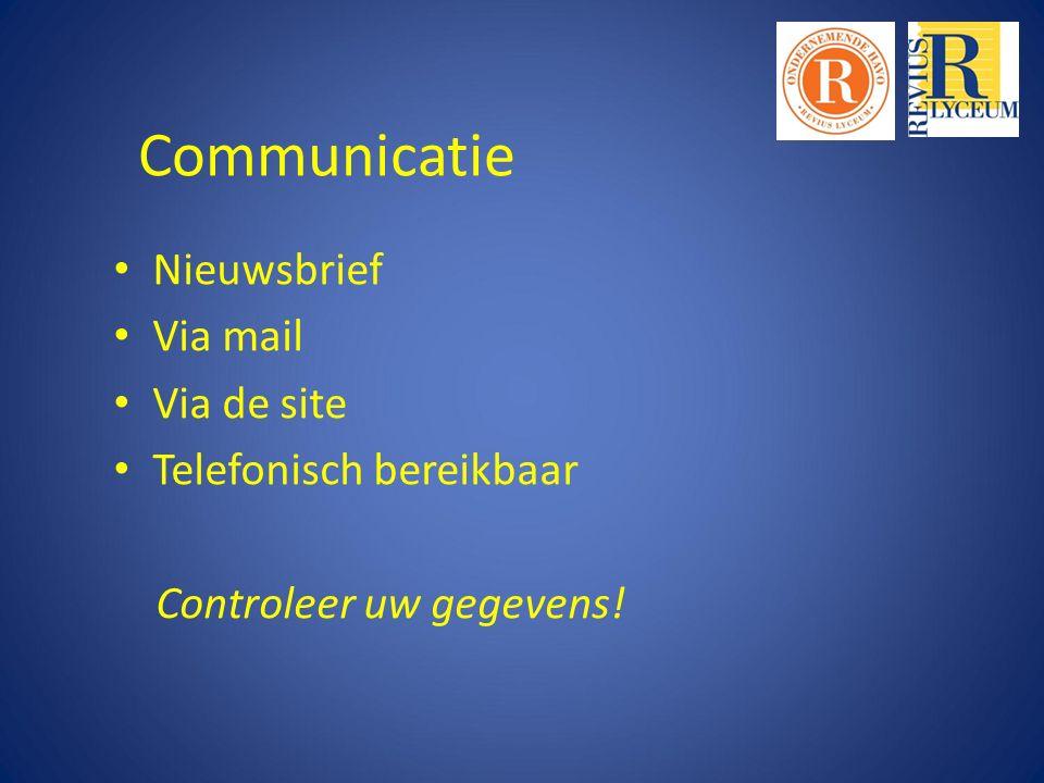 Communicatie Nieuwsbrief Via mail Via de site Telefonisch bereikbaar Controleer uw gegevens!