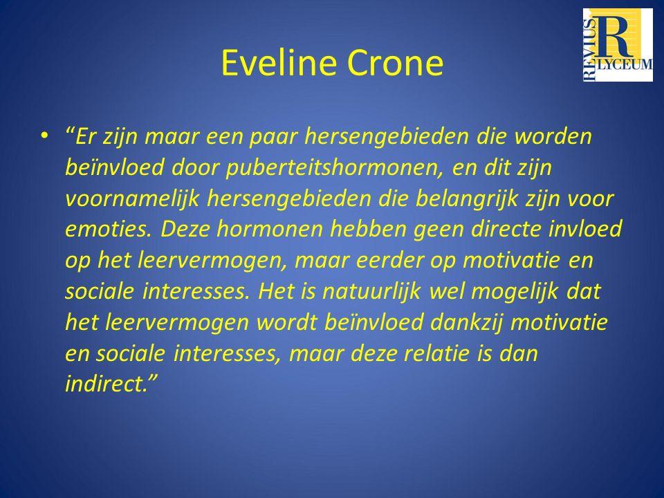 Eveline Crone Er zijn maar een paar hersengebieden die worden beïnvloed door puberteitshormonen, en dit zijn voornamelijk hersengebieden die belangrijk zijn voor emoties.