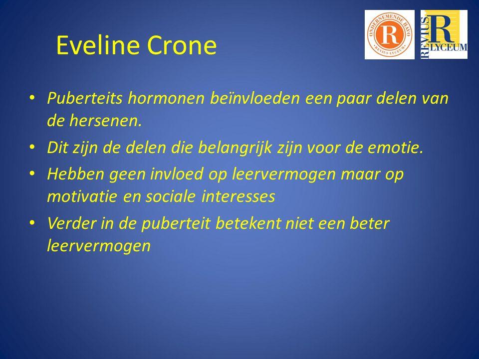 Eveline Crone Puberteits hormonen beïnvloeden een paar delen van de hersenen.