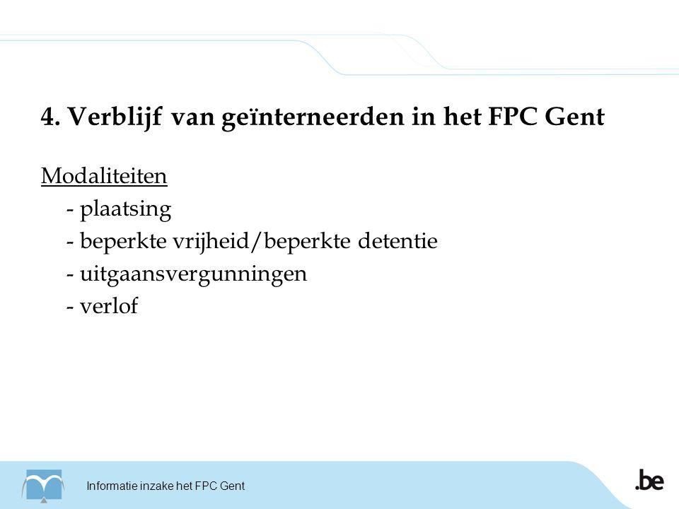 Rapportage en adviesverlening - rapportage inzake het verloop van de behandeling van de geïnterneerden in het FPC Gent - rapportage over vooropgestelde zorgtraject - advies verstrekken inzake de te behandelen modaliteiten waarover de CBM/SURB een beslissing dient te nemen Informatie inzake het FPC Gent